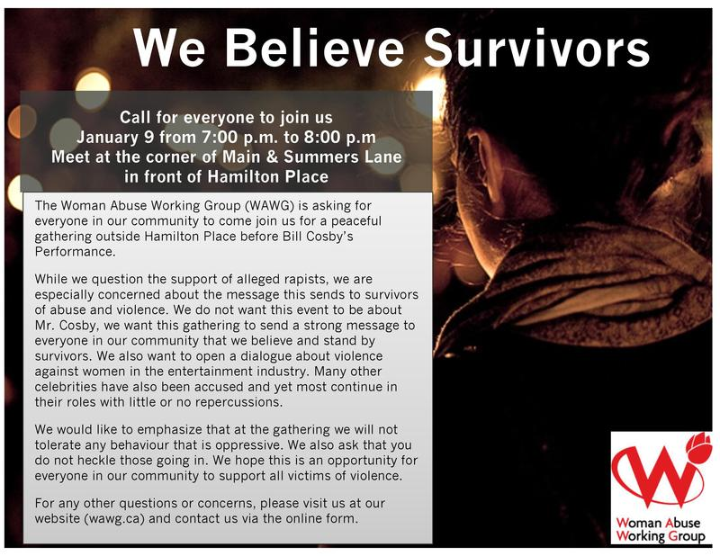 "Image Poster ""We Believe Survivors"" Call for everyone to join them on January 9, 2015 -Bill Cosby Show"