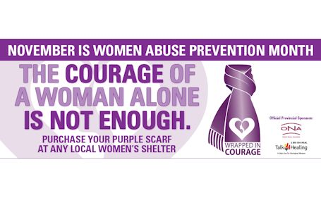 "Blog post photo: ""November Is Woman Abuse Prevention Month. The Courage Of A Woman Along is Not Enough""."