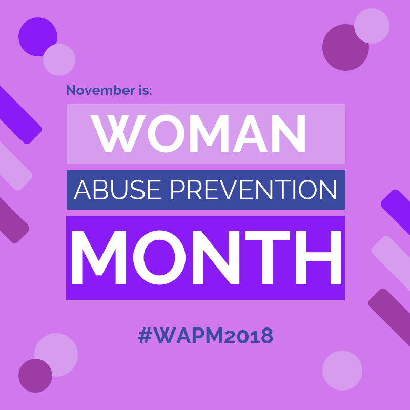 "Blog post photo with the text ""November is Woman Abuse Prevention Month"". Post dated 2018"