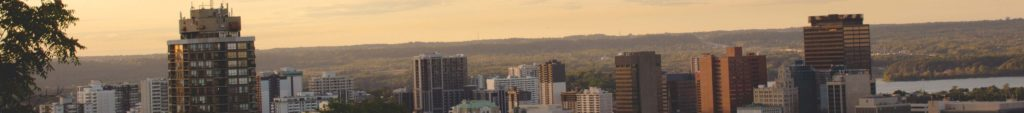 Header image of the Hamilton skyline for the top of the Contact Us page
