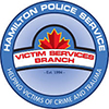 Blue logo with a red maple leaf of the Hamilton Police Service, Victim Services Branch. The logo is also a link to their website.