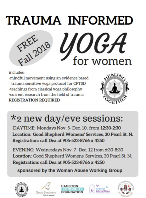 "Image with information about ""Trauma Informed Yoga for Women"" Free! Fall 2018"