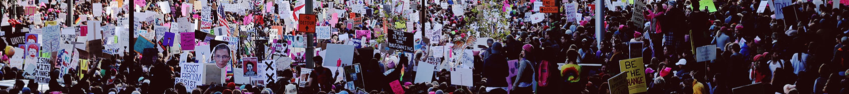 "Header image for the top of the ""In the News"" page. Crowd scene of people bring attention to women's rights."