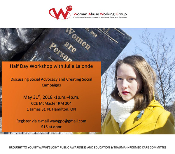 """Image of Julie Lalonde with the text: """"Half Day Workshop with Julie Lalonde"""". May 31, 2018"""