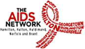 Red Ribbon Logo of The Aids Network. Serving Hamilton, Halton, Haldimand, Norfolk and Brant. The logo is also a link to the organization's website.