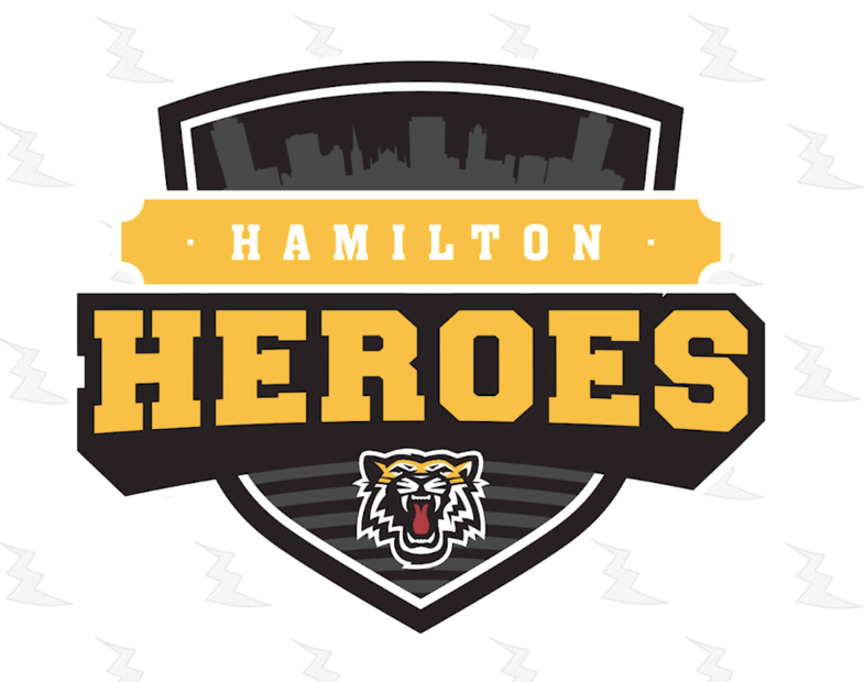 Logo of the Hamilton Heroes with a picture of a tiger underneath